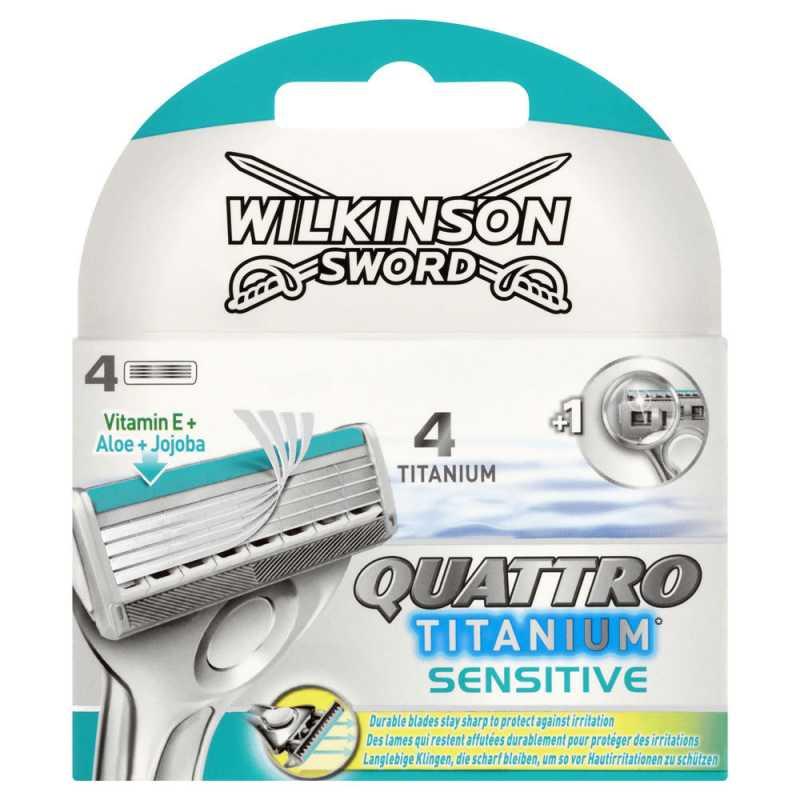 сменные лезвия Wilkinson Sword (Schick) Quattro Titanium sensitive  4 шт.