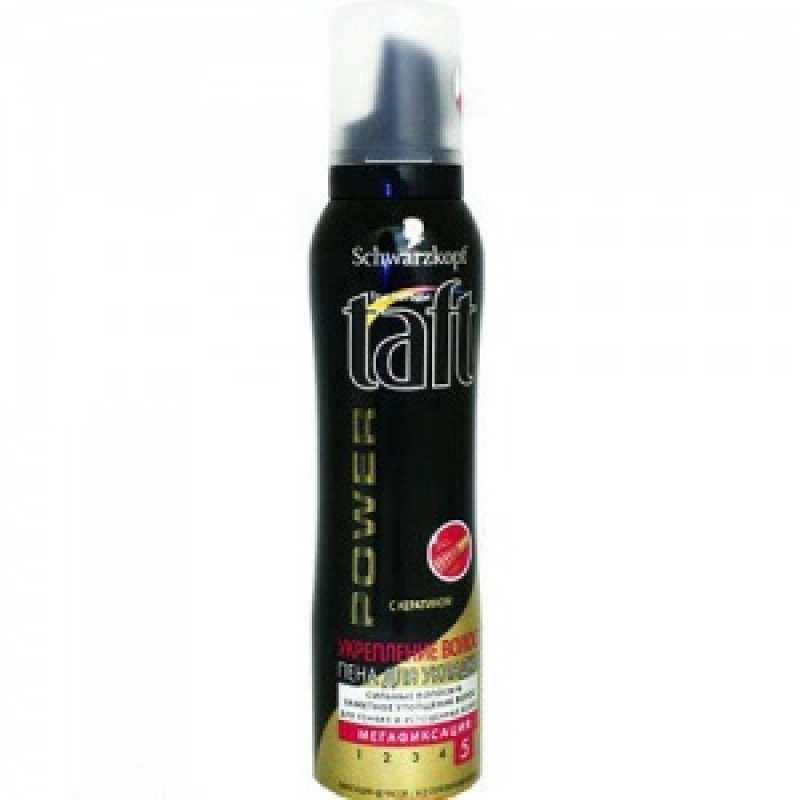 TAFT Пена  150 мл ЧЁРНАЯ Power укрепление волос  для тонких и истощенных Мегафикс.