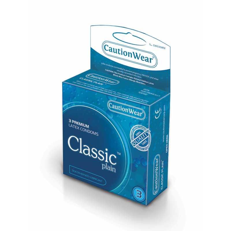 """Презервативы CautionWear """"Classic Plain"""" PREMIUM PLAIN CLASSIC SHAPED Латексные презервативы 3шт"""