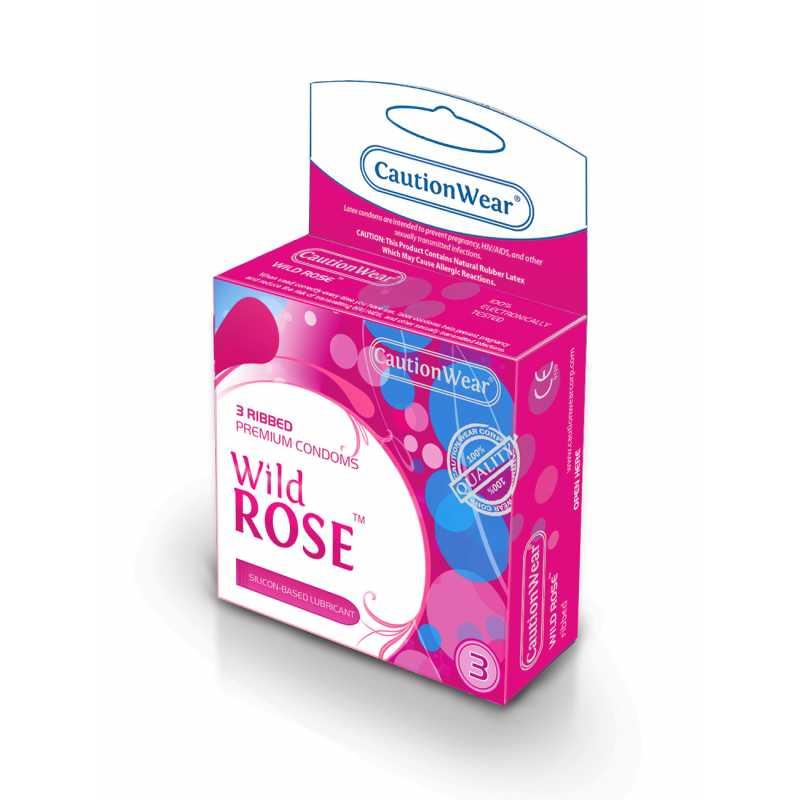 CautionWear Wild Rose Презервативы Премиум, рифленные, с натуральным лубрикатом, 3 шт