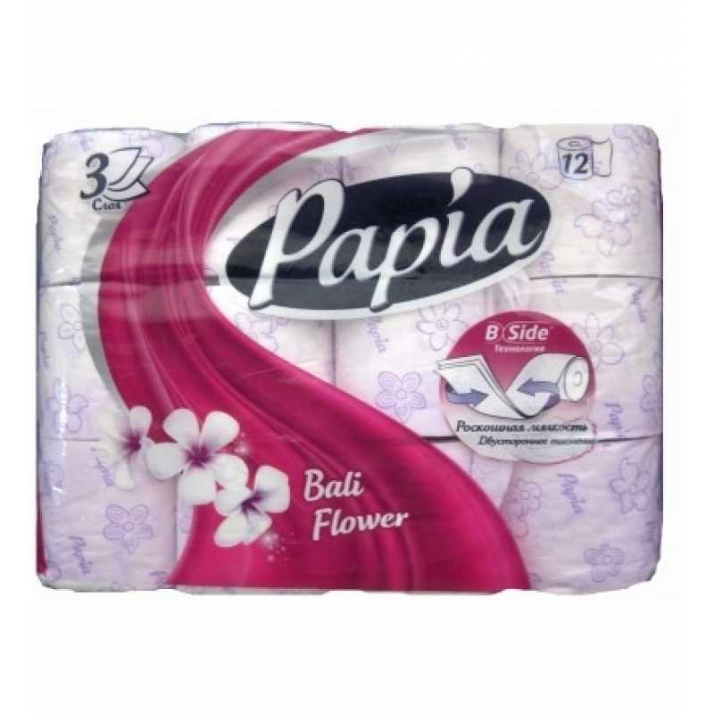 Туалетная бумага Papia Балийский цветок 3 слоя, 12 рулонов