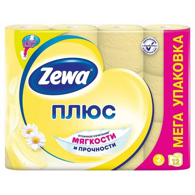 Туалетная бумага Zewa Плюс Ромашка, 2 слоя 12 рулонов