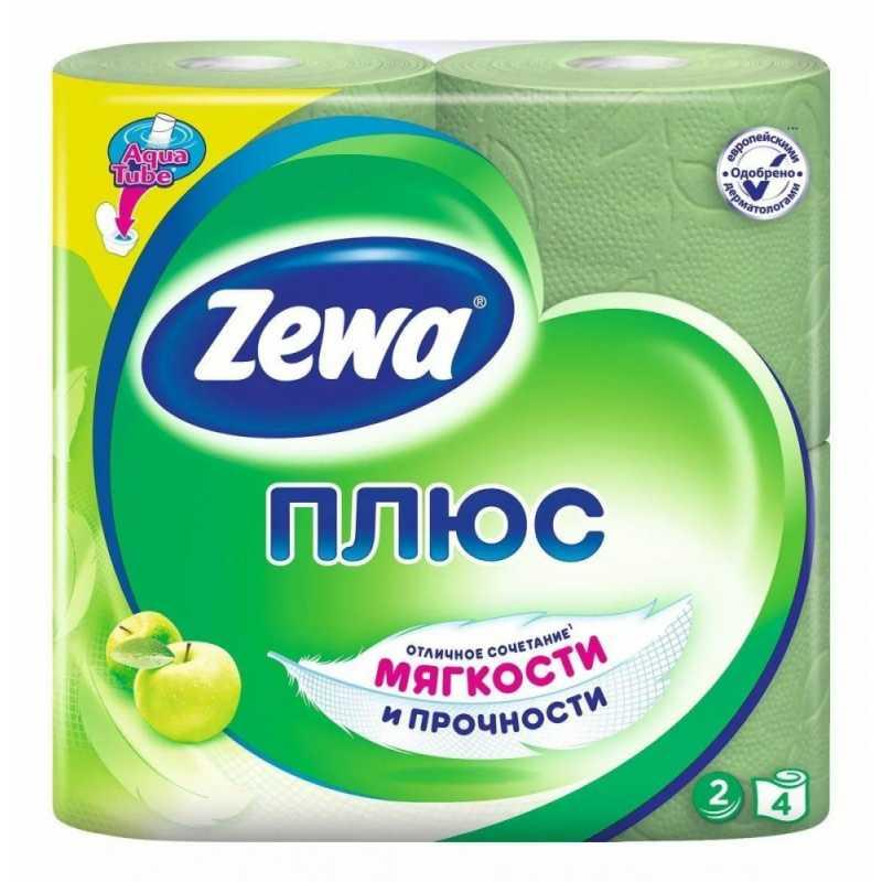 Туалетная бумага Zewa Плюс Аромат яблока, 2 слоя 4 рулона