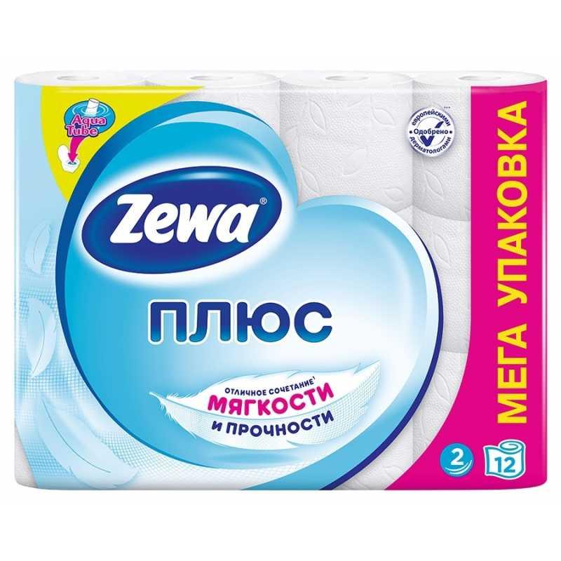 Туалетная бумага Zewa Плюс Белая, 2 слоя 12 рулонов
