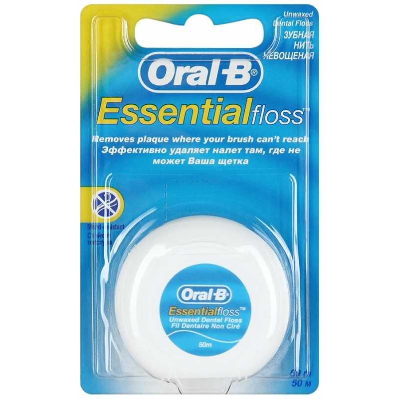 Зубная нить Oral-B Essential floss, невощеная, 50 м