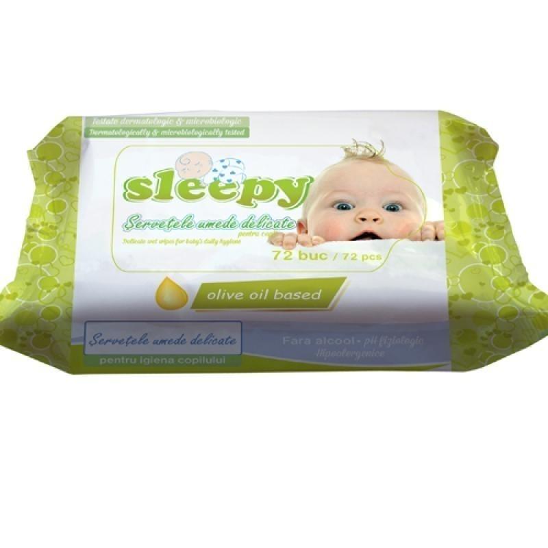 Влажные салфетки Sleepy Olive, 72 шт