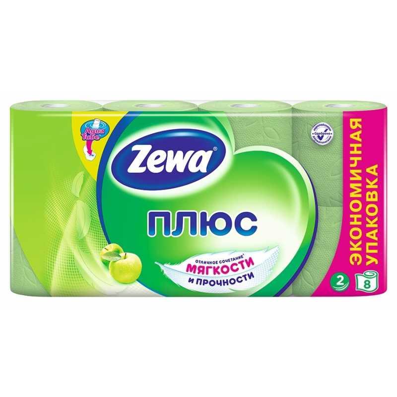 Туалетная бумага Zewa Плюс Аромат яблока, 2 слоя 8 рулонов
